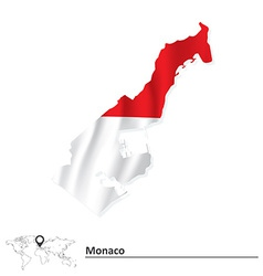 Map of Monaco with flag vector