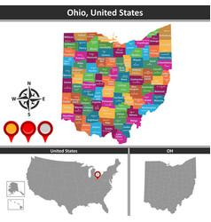 map ohio vector image