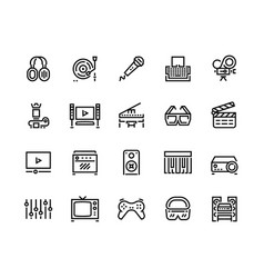 media line icons technology and multimedia vector image