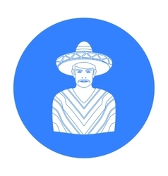 Mexican man in sombrero and poncho icon in black vector image