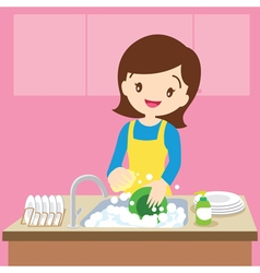 Mom dish washing vector