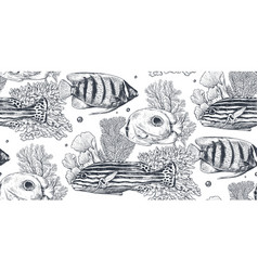 monochrome seamless sea pattern vector image