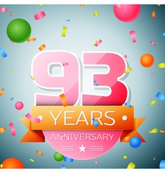 Ninety three years anniversary celebration vector image