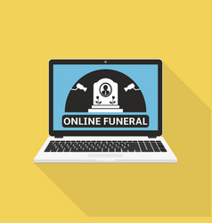 Online broadcast a funeral on a laptop screen vector