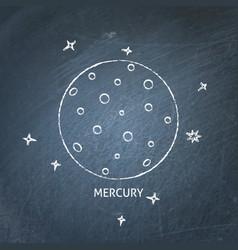 planet mercury icon on chalkboard vector image