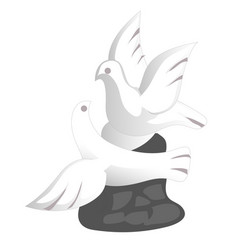 Porcelain doves souvenir toy in a flat design vector