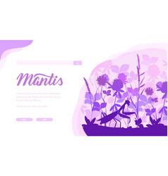 Praying mantis landing page template vector
