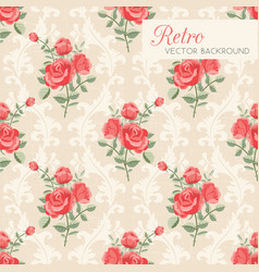 roses floral seamless pattern vector image