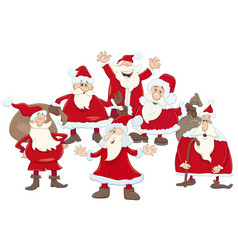 Santa claus group cartoon vector