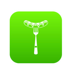 sausage on a fork icon digital green vector image