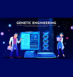 scientists in white robes study dna on screen vector image