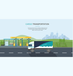 semi truck on the road and gas filling station vector image