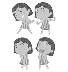 Set of girls in different actions vector