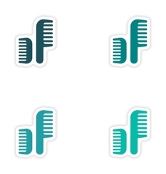 Set of paper stickers on white background combs vector