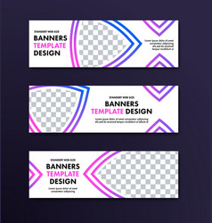 set of white banners with place for photo and vector image