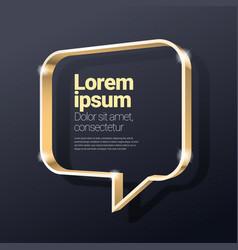 shiny glossy golden metallic 3d speech bubble vector image