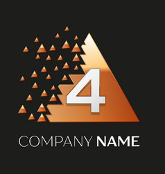 Silver number four logo in pixel triangle shape vector