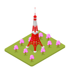 Tokio tower famous landmark of capital japan vector