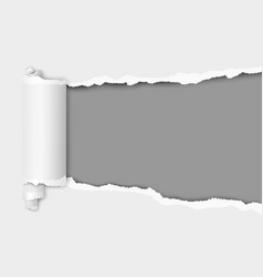 Torn hole in sheet of white paper vector