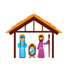 Traditional family christmas manger scene baby vector