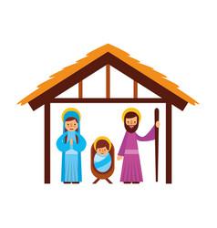 Traditional family christmas manger scene baby vector