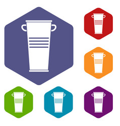 Trash can with handles icons set hexagon vector