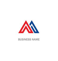 triangle letter m company logo vector image