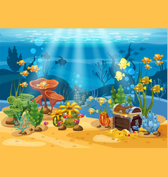 underwater treasure chest at the bottom of the vector image