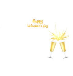 Valentine s day card with champagne vector