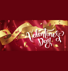 valentines day handwritten text with confetti on vector image