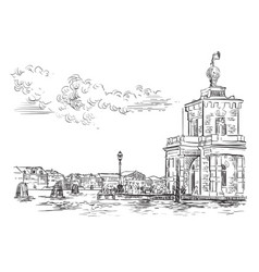 Venice skyline hand drawing della dogane vector