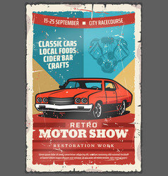 Vintage classic car retro motor show vector