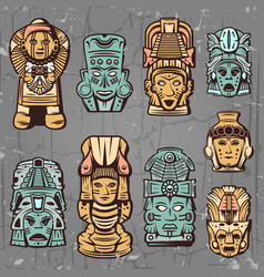 Vintage colored aztec masks set vector