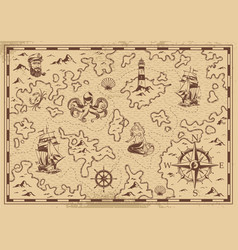Vintage monochrome old pirate treasure map vector