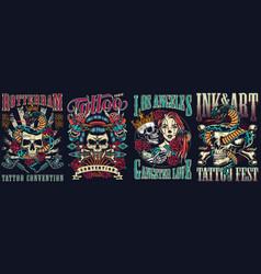 vintage tattoo festivals posters set vector image