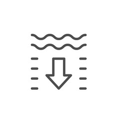 Water depth line outline icon vector