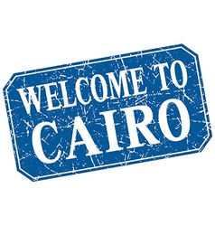 Welcome to Cairo blue square grunge stamp vector