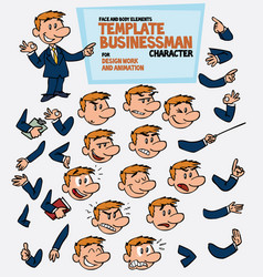 White businessman parts of body template vector