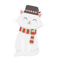 White cat with hat and scarf celebration merry vector