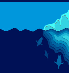 With iceberg and penguins vector