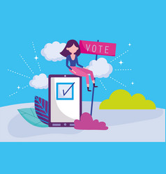 woman with smartphone select politics election vector image