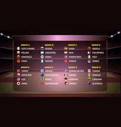world basketball cup groups vector image