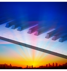 Abstract sunrise background with silhouette of vector