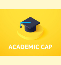 Academic cap isometric icon isolated on color vector