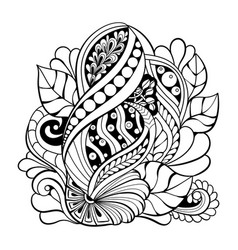 black and white pattern in a zentangle style vector image