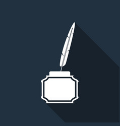 feather and inkwell flat icon with long shadow vector image