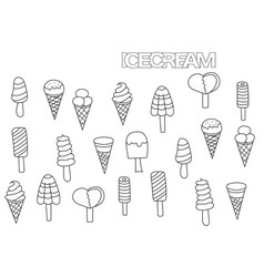 hand drawn ice cream set coloring book page vector image vector image