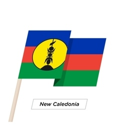 New Caledonia Ribbon Waving Flag Isolated on White vector image vector image