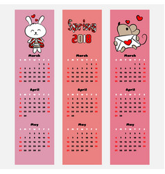 season calendar spring color bookmark vector image