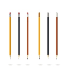 Set of pencils various colors isolated on white vector image